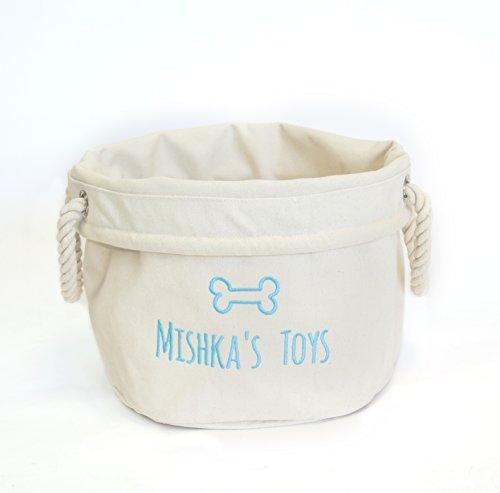 *Personalisierte Hund Spielzeugkorb, Geschenke für Hunde, Hund Spielzeug Halter, Leinwand Aufbewahrungstasche*