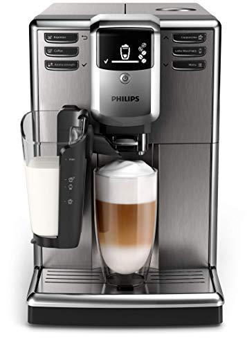 Philips Serie 5000 Cafetera Espresso automática, máquina de café de 6 Bebidas LatteGo, AquaClean, 1.8 litros, Acero Inoxidable