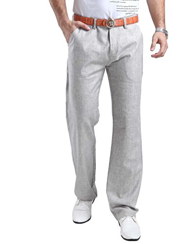 HOEREV Mens Summer linen Casual Trousers, Casual Pants
