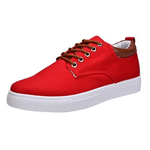 Teenager Koreanisch Turnschuhe Student Canvas Sneaker Einfarbig Schnürsenkel Low-Top Männer Segeltuchschuhe Rot 43 EU ()