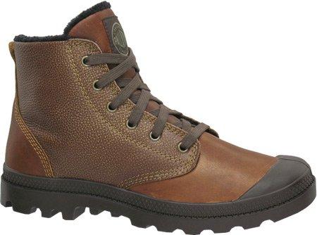 Palladium Pamp Hi Leather Paire de chaussures en cuir pour homme Blé/chocolat Noir
