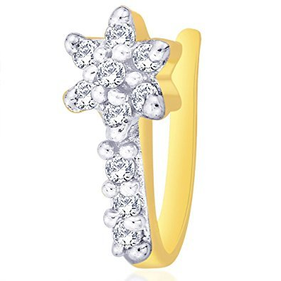 Diwali Gift - Oviya Gold Plated Floral Nose Pin with CZ for Women NR1100154G