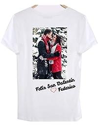 RecontraMago Camiseta Personalizada con tu Foto Camisetas Personalizadas De  Algodon para Parejas Hombre Mujer - San 4c962e5328d