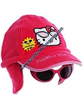 Cappello cuffia Pile e occhiali bambino ragazza hello kitty rosa di 3a 9anni