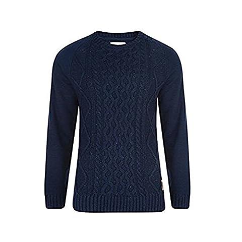 Fashion Cable Knit Pull en tricot pour homme Sweat shirt de Style Cockerham manches contrastées - Bleu - X-Small