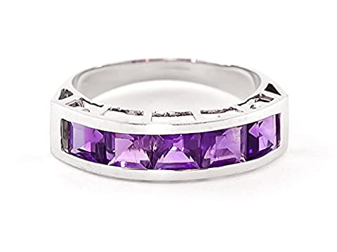 QP Jewellers Femme Or 375 Or blanc|#Gold Carré Violet Amethyst FINERING