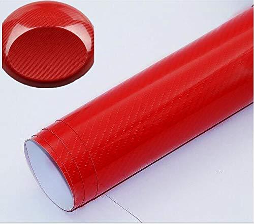STARPIA 6D Carbon Folie,2 Stück Carbon Vinyl selbstklebend flexibel Car Wrapping Folie Hochglanz Blasenfrei mit Luftkanälen (rot, 50 * 152CM)