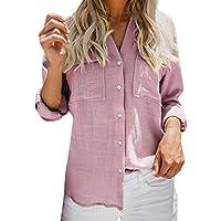 CUTUDE Lange Ärmel T Shirt Damen Bluse Baumwolle Leinen Lässig Solide Taste Gedrückt Graues Rosa Blau Top