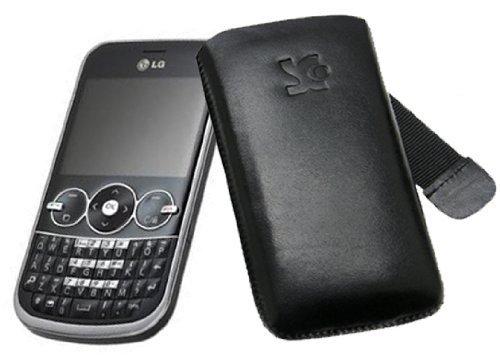 LG GW300 - Leder Etui Tasche (Original SunCase) *Lasche mit Rueckzugfunktion* - in der Farbe Schwarz