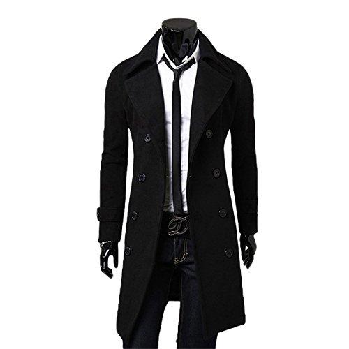 YYF Herrenmantel Lang Herbst Winterjacke Slim Fit warm Mantel Trenchcoat Outfit