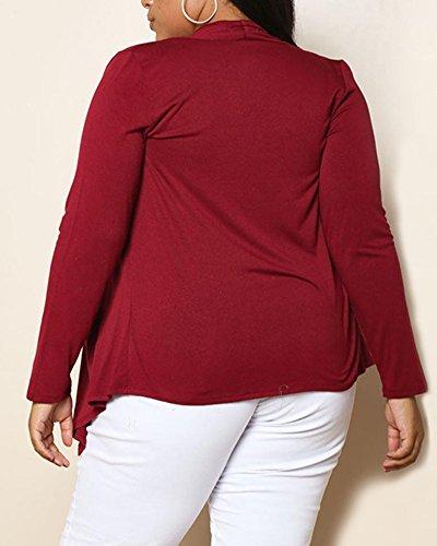 Ladies Plus Size Long Sleeve Casual Top Coat Jacket WineRouge