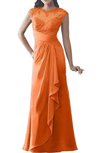 Charmant Damen Champagner langarm Spitze langes Abendkleider Ballkleider Brautmutterkleider Etuikleider Orange