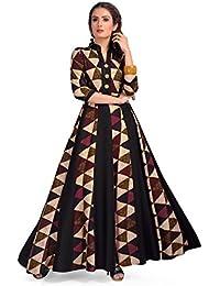 MT Printed Designer Maxi Gown Style Kurta - Party Wear Long Rayon Beautiful Womens Wear Kurti - Latest Bollywood...