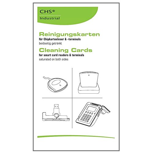 Reinigungskarten für Magnet- und Chipkartenleser *25er-Pack * SCR Cleaning-Card (z.B. ChipDrive, ReinerSCT, Cherry, POS, EC, eHealth, Time Recording, Zeiterfassung, Zugangskontrolle und weitere Lese-/ Schreibgeräte für kontaktbehaftete Chipkarten)