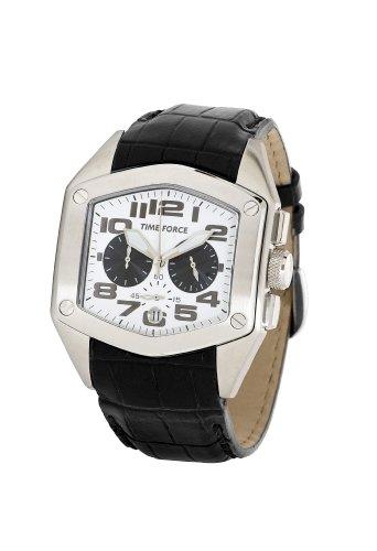 Time Force - TF3090M02 - Montre Homme - Quartz Analogique - Cadran Blanc - Bracelet en Cuir Noir