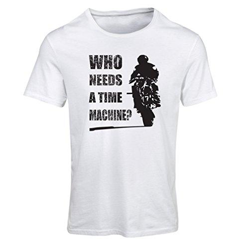 Frauen T-Shirt Motorradkleidung (Large Weiß Mehrfarben)