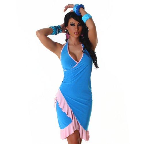 Cocktailkleid Kleid Tanzkleid V-Ausschnitt zweifarbig Onesize trendiges Design Türkis-Rosa