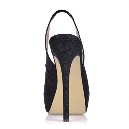 Best 4U® Sandalo da donna con tacco a spillo in gomma punta tonda 10CM tacco alto primavera estate tinta unita bling shoes Slingback Black