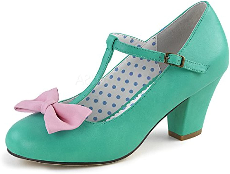 PinUp Couture Damen Spangen Pumps mit Schleife Wiggle-50 teal-pink