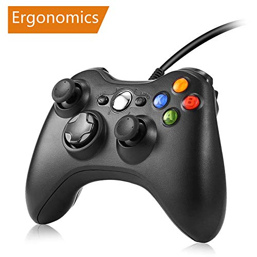 Xbox 360 wired controller, RegeMoudal Game Controller für Microsoft Xbox 360 und Windows PC (Windows 10/8.1/8/7) mit Dual-Vibration und Ergonomischem Kabelspiel Controller (Model 1)