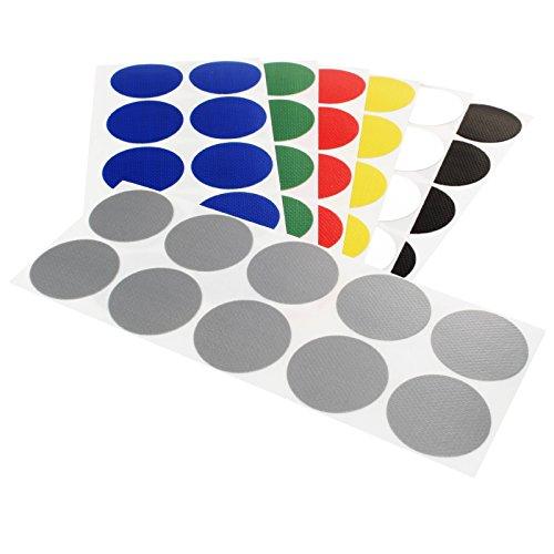 Klebepunkte farbig | PE-beschichtete Markierungspunkte aus Gewebe | Farbe & Menge wählbar | Bunte Klebepunkte | Permanent klebend | Runde Etiketten zum Markieren & Kennzeichnen / silber 100 Stück