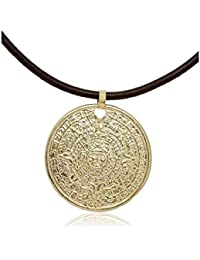 Córdoba Jewels | Gargantilla en plata de Ley 925 bañado en oro y cuero. Diseño Maya oro