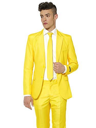 (Suitmeister Anzüge für Herren - Mit Jackett, Hose und Krawatte mit Festlichen Print Solid Yellow)
