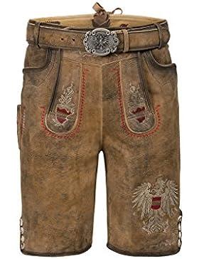 Michaelax-Fashion-Trade Stockerpoint - Herren Trachten Lederhose mit Gürtel, in Hanf gespeckt, Austria-Bua