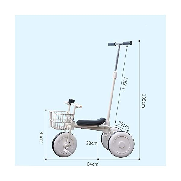 GIFT Lightweight Children's Trolley -2 In 1 Kid's Trike High Carbon Steel Detachable Push Rod 5.5kg Multi-color Optional,Pink GIFT Material: high carbon steel + ABS + EVA wheel Features: The push rod can be adjusted to height, suitable for people of different heights; the front wheel is clutched, safer, the handle is turned to 30° limit, anti-rollover Performance: high carbon steel frame, stronger and stronger bearing capacity; EVA wheel is non-slip wearable, suitable for all kinds of road conditions, good shock absorption capacity, artificial leather seat, baby ride more comfortable 3