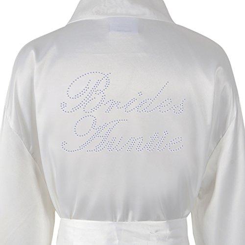 Brides Auntie Satin Fleece Strass Bademantel Wedding Day personalisierbar Honeymoon Bademantel Elfenbeinfarben Elfenbeinfarben