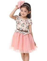 Dayiss®Süß Mädchen Kleid Kinderkleid Sommerkleid geblümt Tüllrock Kurzarm Rundhals kids dress Prinzessin
