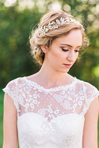 Vintage Haarschmuck, Band, Hochzeit, Kristall elegant Braut Retrostil Diadem Haarschmuck klar, Perlen, silber