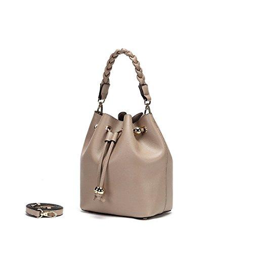 GSHGA Neue Einfarbig Casual Umhängetasche Messenger Bag Eimer Tasche Weibliche Handtasche Authentic Fashion Totes,LightGrey -
