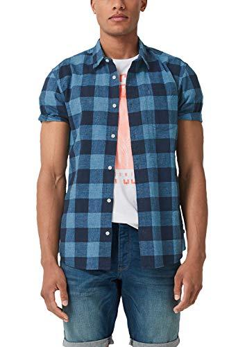 Q/S Designed by Herren Extra Slim: Kariertes Kurzarmhemd Marine Check XL - Slim Fit, Marine Check