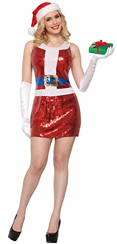 7Pailletten Miss Santa Kleid, Rot, UK 8–10 (Kobold, Frau Kostüm)
