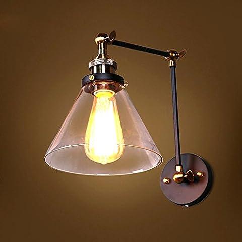 GUOQ Einfach Retro Industrie Stil Eisen Glass Wandlampe Kreative Design