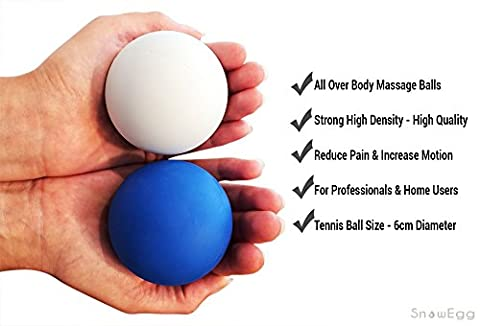 SnowEgg Fitness– Premium Lacrosse Massage Balls – Trigger Point Therapy Targeting All Body Areas – Head, Neck, Back, Arms, Legs, Feet - Individual or Set of 2 with Padded Mesh Carry Bag (Blue, 2)