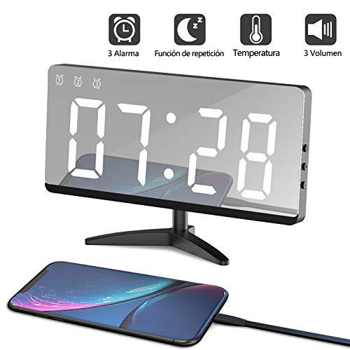 LED Despertador Digital Espejo Despertador Alarma Electrónico Reloj Despertador Moderno con USB Puerto...