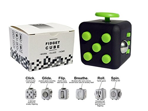Fidget-Dice-6-Sides-Cube-Anti-Stress-and-Depression-Toys-for-Children-and-Adults-BlackGreen