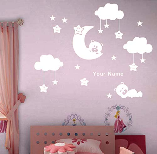 Mond Und Sterne Vinyl Wandaufkleber Für Kinderzimmer Personalisierten Namen Nette Lächelnde Sterne Mit Weißen Wolken Baby Room Decor 80X130 Cm - Jalousie Vinyl Weiss