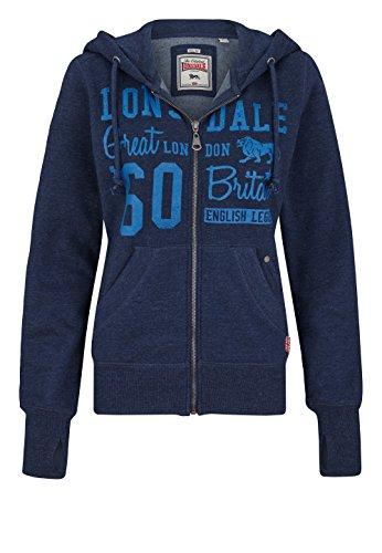 Lonsdale - Sweatjacke Staplecross, Felpa Donna, Blu (Marl Navy), Small (Taglia Produttore: Small)