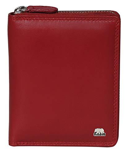 Brown Bear Geldbörse Leder Hochformat Damen Rot Reißverschluss mit RFID Schutz & Doppelnaht Geldbeutel Frauen Portemonnaie Portmonaise Portmonee Ledergeldbeutel Ledergeldbörse