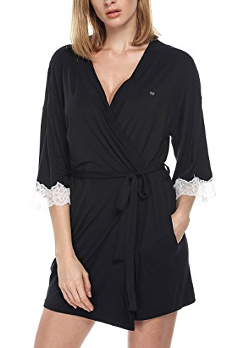 Ekouaer Womens Dressing Gown Ladies Towelling Bathrobe Lightweight Kimono Robe Sleepwear Nightwear Housecoat Louge Wear Size UK 4-20…
