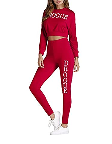 Corala Damen Langarm Crop Top und Jogging Hosen 2 Stück Outfits Trainingsanzüge Sportbekleidung
