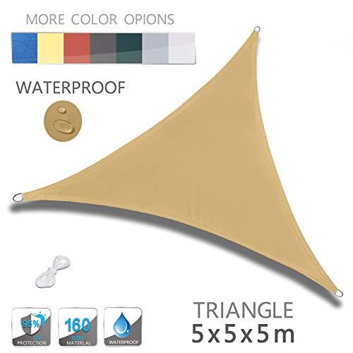 LOVE STORY Dreieck 5 x 5 x 5 m Sandbeige UV-Schutz Wasserdicht Sun Segel Sonnensegel Terrasse Garten...