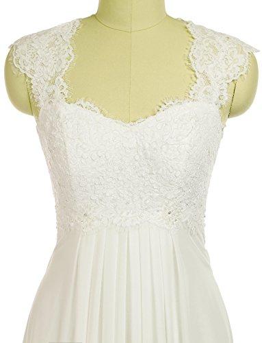 Erosebridal Ärmellos Spitze Chiffon Hochzeitskleid Brautkleid Elfenbein DE40 -
