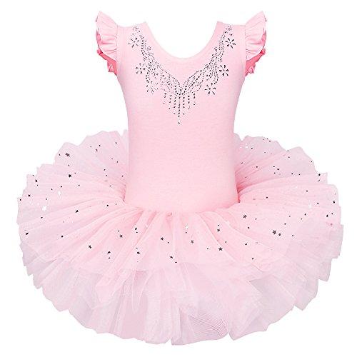 ZNYUNE Mädchen Kinder Baby Ballettkleid Ballettanzug 4 Lagen Trikot Leotard Ballettbekleidung Ballettbody 6 7 Jahre (Prinzessin Peach Trikot)