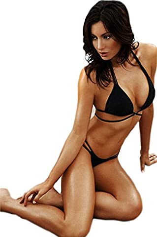 Fortuning's JDS Sexy Push Up Top Black Strappy Two Piece Bikini Bathing Suit