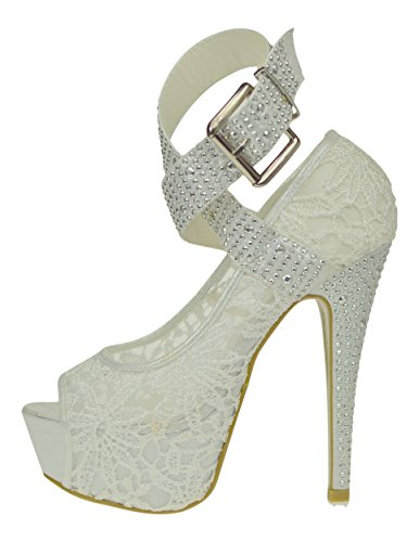 6158070ffc53 Chic Feet Ladies Womens Sexy White Lace Hidden Platform High Heels Peep Toe  Shoes - UK Size 6