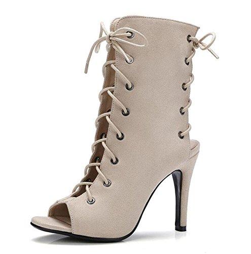 GLTER Frauen Peep Toe Pump Charming Slingback Stiefel Cross Strap Hollow Super High Heel Große Größe Sandalen 40-43 apricot